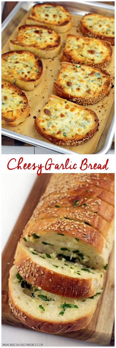 The best garlic bread topped with lots of cheese and broiled until gooey, bubbly-hot and golden. Resistance is futile!