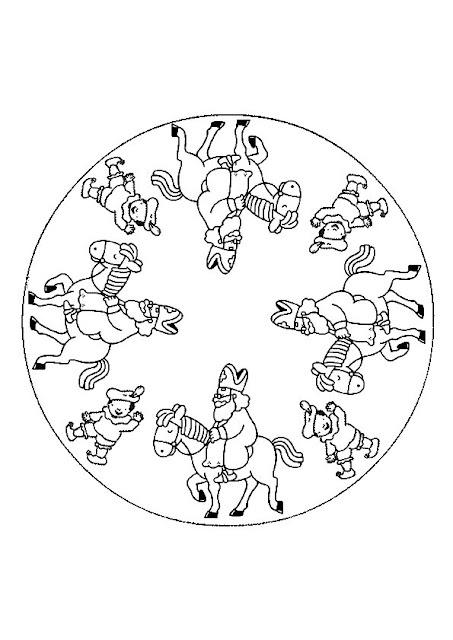 Sint Nicolaas en zijn Maatjes; Een mooie Mandala van Sinterklaas op zijn paard Amerigo en Maatje Piet. Hang hem op als verjaardags slinger (met een paar andere mooie Mandala's of tekeningen) voor Sint. En we zingen en we springen en we zijn zo blij.......want er zijn geen stoute kinderen bij!..... Of Kleur hem mooi in, rol het voorzichtig op, lintje erom en in je schoen.... Maar je kunt hem natuurlijk ook persoonlijk aan de Sint geven! Veel kleurplezier