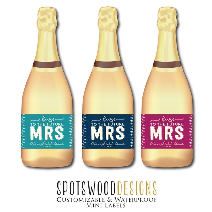 Mini Cheers to the Future Mrs. Custom Champagne Label. Wine Label. Bridal Shower Decorations. Bridal Shower Favors. Bridal Shower Gift. by SpotswoodDesigns on Etsy