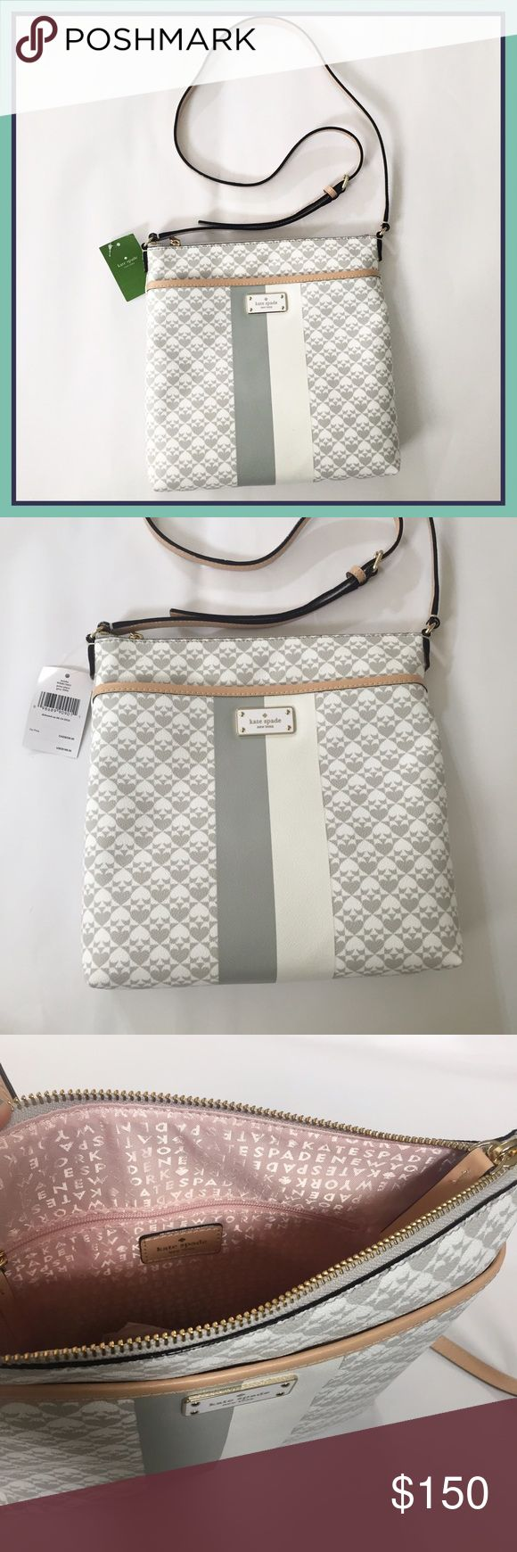 kate spade bag This kate bag is effortlessly classy and stylish. Features: Grey and white spade design with tan straps and light pink inside, large outer pocket, and adjustable strap. Comes with care card. kate spade Bags