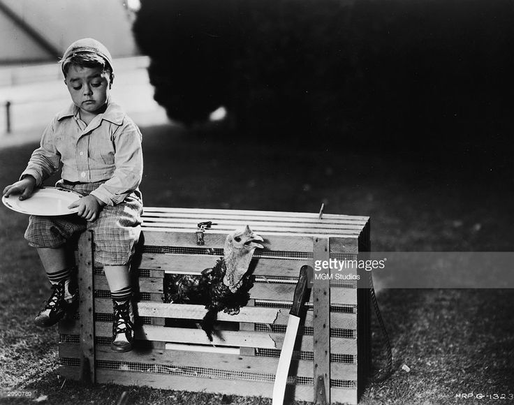 American child actor George McFarland (1928 - 1993), sits on top of a rooster cage in a still from the television series 'The Little Rascals' which was based on the comedy movie series 'Our Gang' circa 1930s.