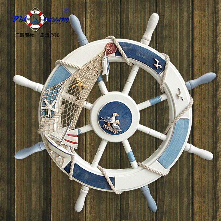 特【地中海风格海洋装饰品】船舵舵手方向盘挂饰壁饰橱窗摆设摆件-淘宝网