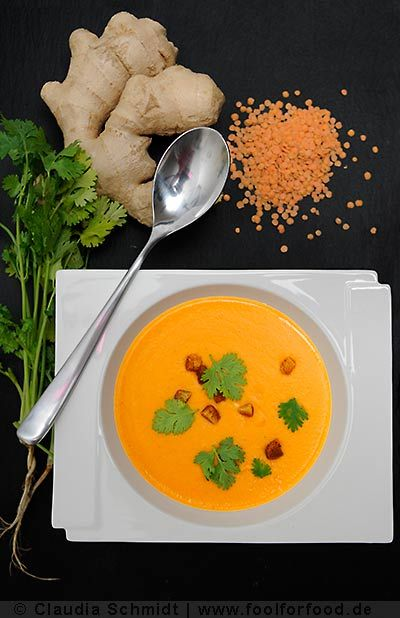 Superbe soupe de lentilles de noix de coco « Linsen-Kokossuppe / Deutsch » Rezept mit Bild für Linsensuppe mit Kokos - foolforfood.de