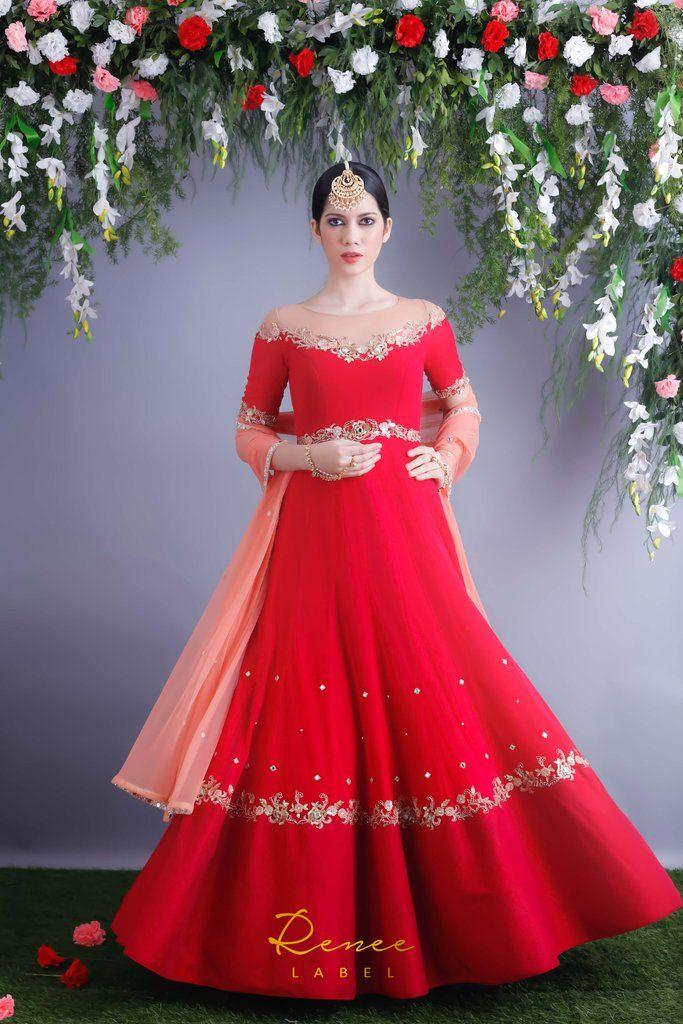 Rose Red Anarkali Gown & Dupatta