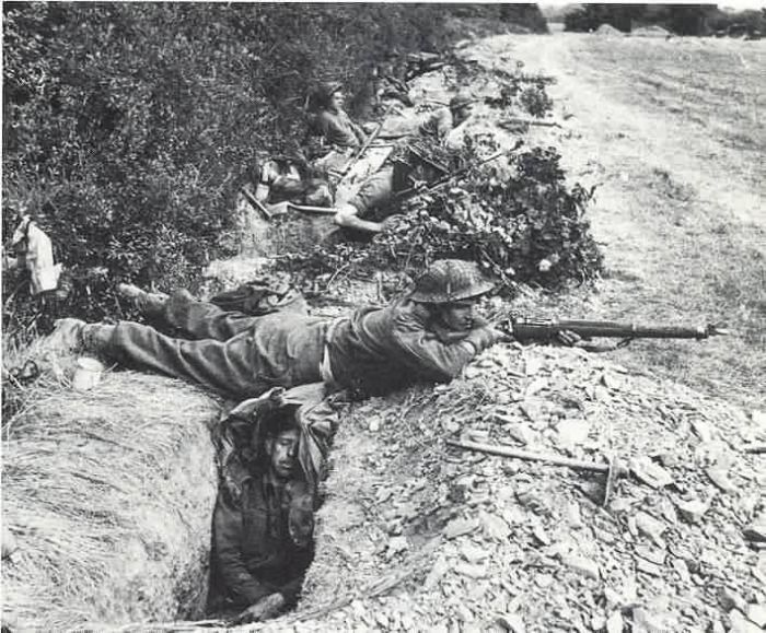 British 43rd Division Troops In Slit Trenches Dug On The