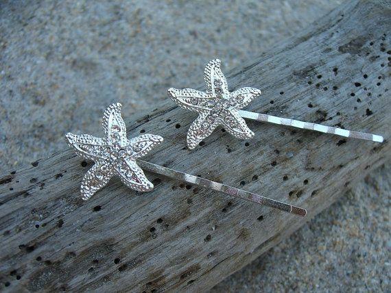 Starfish Beach Wedding Hair Pins-OCEAN-Nautical Wedding, Starfish Hair Clip, Mermaids, Vegan Friendly, Bridal Hair, Bridesmaids Gifts, Beach