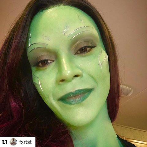 gamora - zoe saldaña's makeup #guardians #gamora