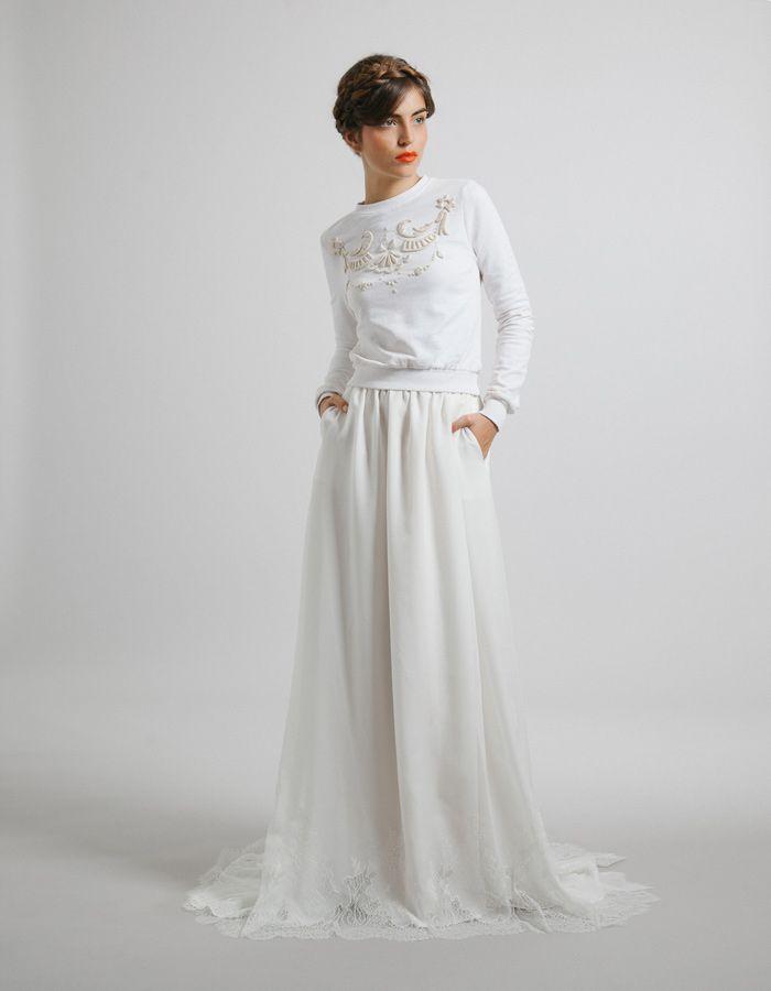 On ose le petit sweat shirt blanc délicatement bordé, ultra tendance pour son mariage - Maison Floret