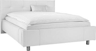 Trendiges Bett mit weißem Bezug in Lederoptik. Die aufwendig gepolsterten Kopf- und Seitenteile, sowie die silberfarbenen Metallfüße runden die Optik dieses Doppelbetts ab. Liegefläche: ca. 140/200 cm.  Im Lieferumfang sind ein Rollrost und eine Komfortschaummatratze enthalten.  Ohne Auflage und Deko.