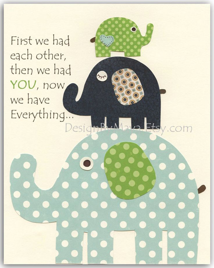 Baby room, Nursery wall art, Decor Art for Kids, elephant..Blue Green..