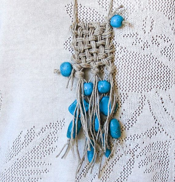 Turquoise Ethno tribal hand woven necklace by totalhandmadeD, $35.00