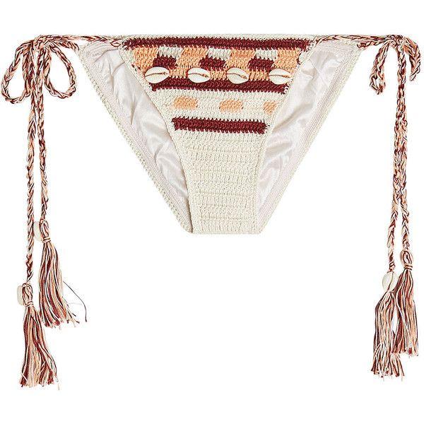 Anna Kosturova Embellished Crochet Bikini Bottoms ($135) ❤ liked on Polyvore featuring swimwear, bikinis, bikini bottoms, multicolored, tie bikini, multi color bikini, crochet swimwear, embellished bikini and tie bottom bikini
