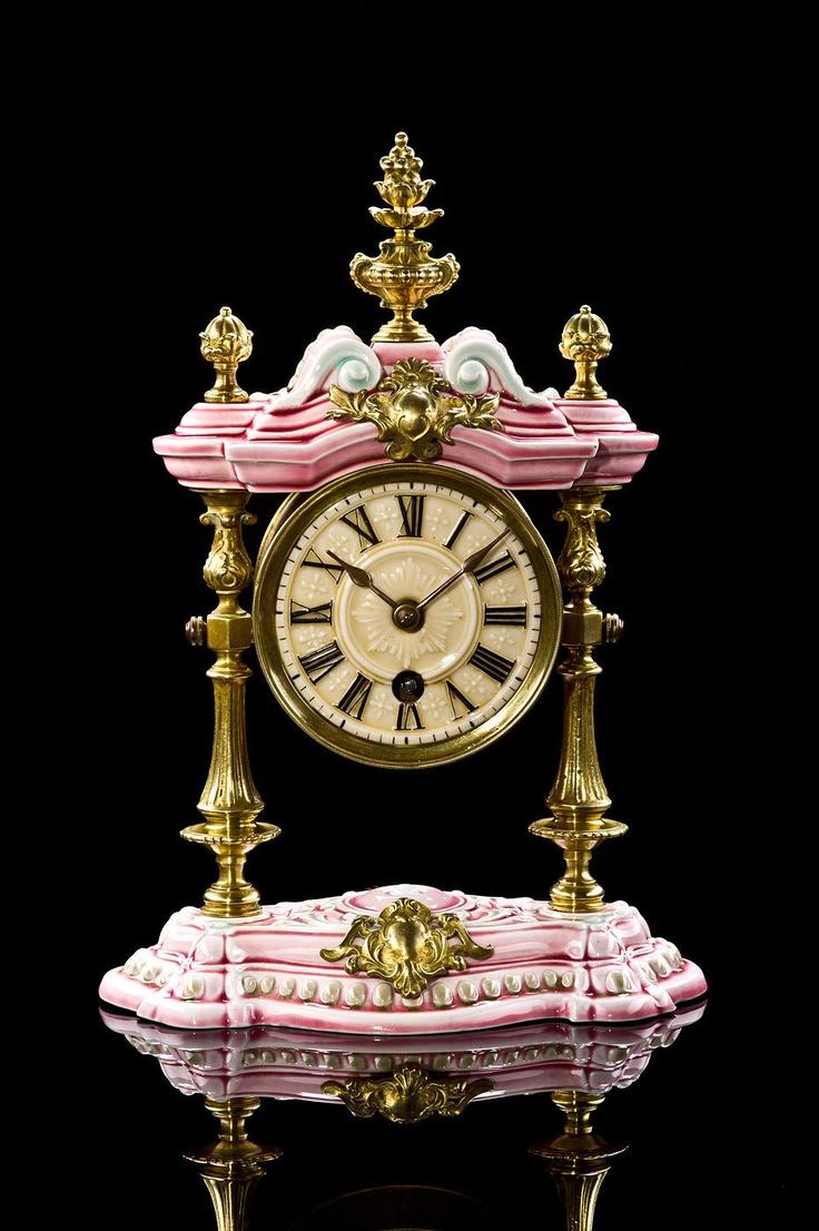 Antique LENZKIRCH Porcelain Mantle Clock approx. 1894