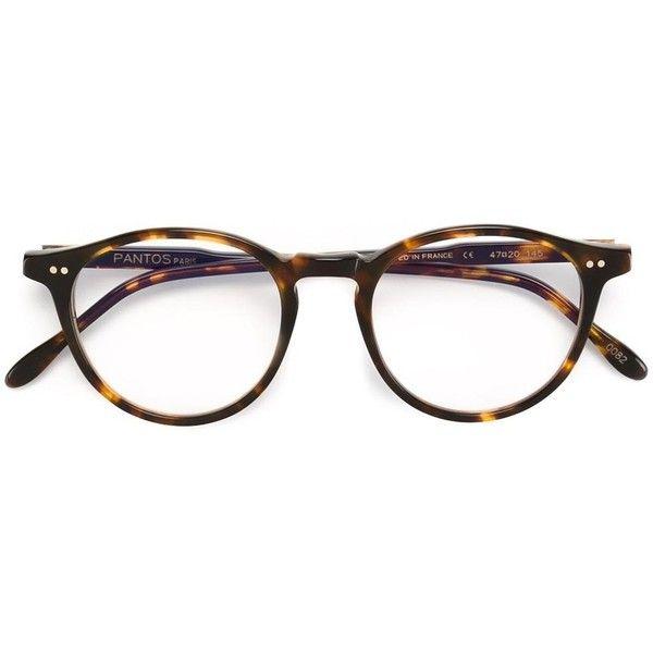 Pantos Paris round frame glasses (315 AUD) ❤ liked on Polyvore featuring accessories, eyewear, eyeglasses, brown, tortoise eye glasses, tortoiseshell glasses, tortoise shell eyeglasses, tortoise shell glasses and brown tortoise shell glasses