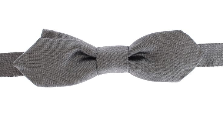 Silver Solid 100% Silk Neck Bow Tie
