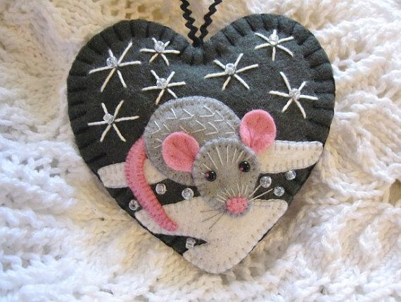 Winter Mouse Ornament by SandhraLee on Etsy