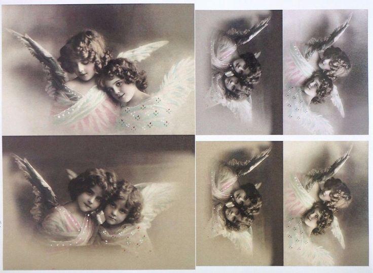 A/4 Classic Decoupage Paper Scrapbook Sheet Vintage Angels