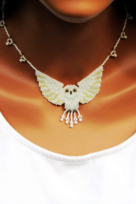 White Owl Bead-Woven Necklace