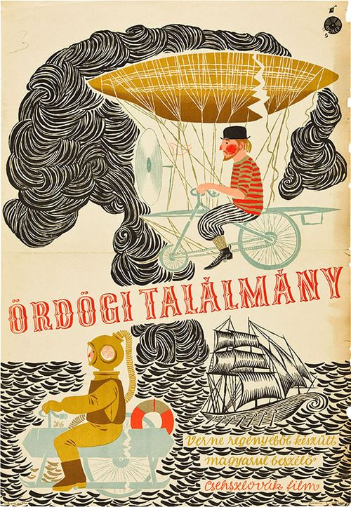"""Hungarian poster for THE FABULOUS WORLD OF JULES VERNE (Karel Zeman, Czechoslovakia, 1958) Designer: """"HG"""". Poster source: Heritage Auctions. The Hungarian title translates as """"Diabolical Invention"""""""