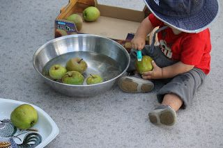 Montessori Beginnings: Little J 15 months activities  Love the washing apples!