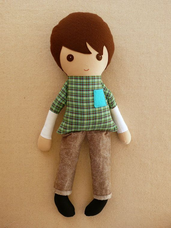 Fabric+Doll+Rag+Doll+Brown+Haired+Boy+with+Green+by+rovingovine,+$36.00