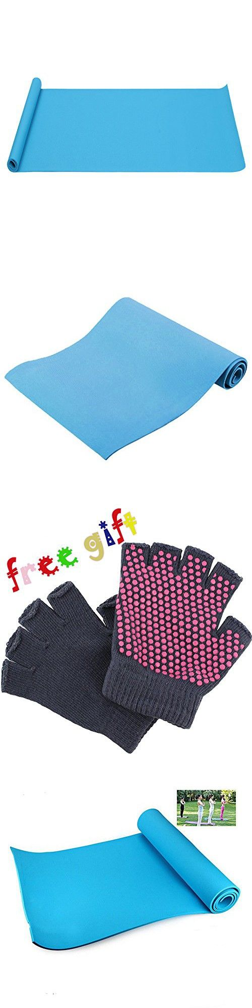 Ezyoutdoor 6mm Thick Picnic Mats Pad Yoga Mat Exercise Fitness,Yogitoes Yoga Mats Workout Pilates Gym Hot Yoga Floor Mat 180 x 50cm blue with life warranty with Gift Yoga Glove