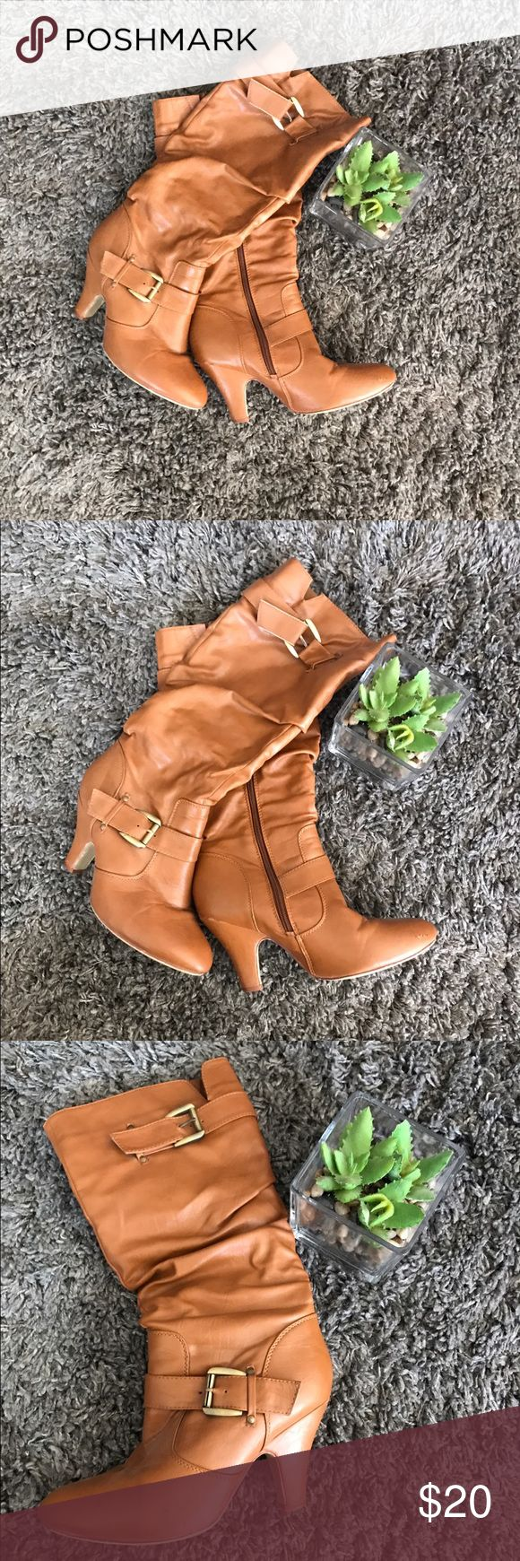 Gorgeous tan high heeled boots- size 8 Gorgeous tan high heeled boots- size 8 Shoes Heeled Boots