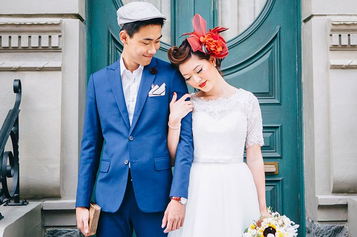 Retro 1950s Engagement Session Styled Shoot with a blue suit and a fifties style wedding dress.