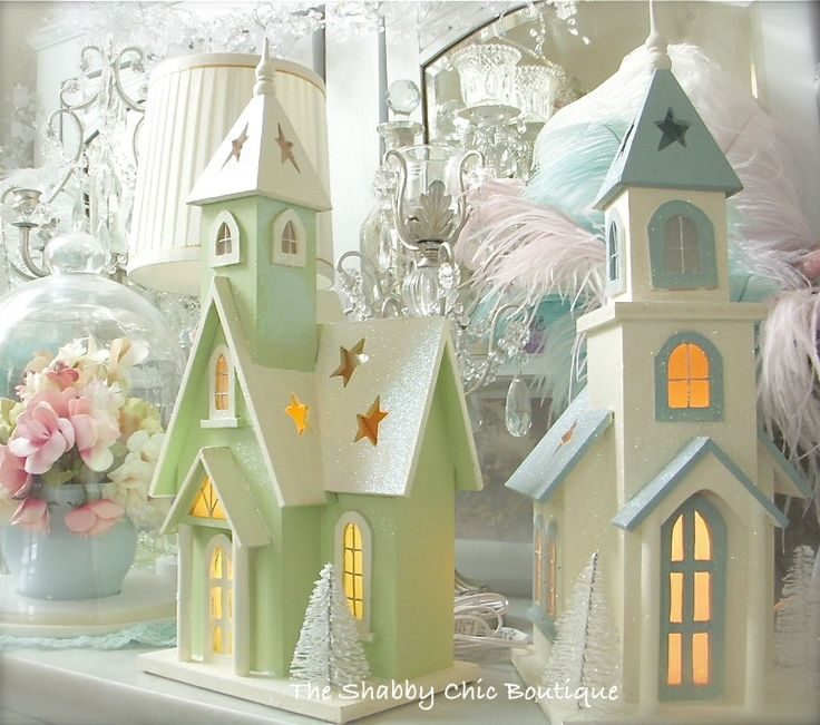 Shabby Christmas Chic Lighted Sparkle Glitter Lit Blue Wooden Glitter White House Image Source Page http://www.ebay.com/itm/Shabby-Xmas-Chic-Lighted-Sparkle-Glitter-Lit-Blue-Wooden-Glitter-White-House-/290556703742