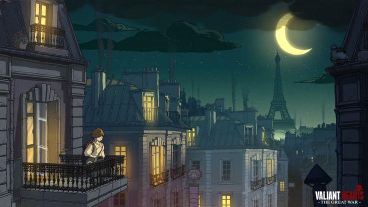 Houses Painting Art France Crescent valiant hearts ubisoft Eiffel Tower Moon Night Paris Games Cities