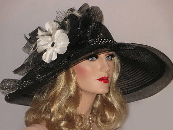POPPIES And POLKA DOTS- Black Sheer Mesh Kentucky Derby Hat, Black And White Derby Hat, Extra Wide Brim Hat, Downton Abbey Hat, High Tea Hat