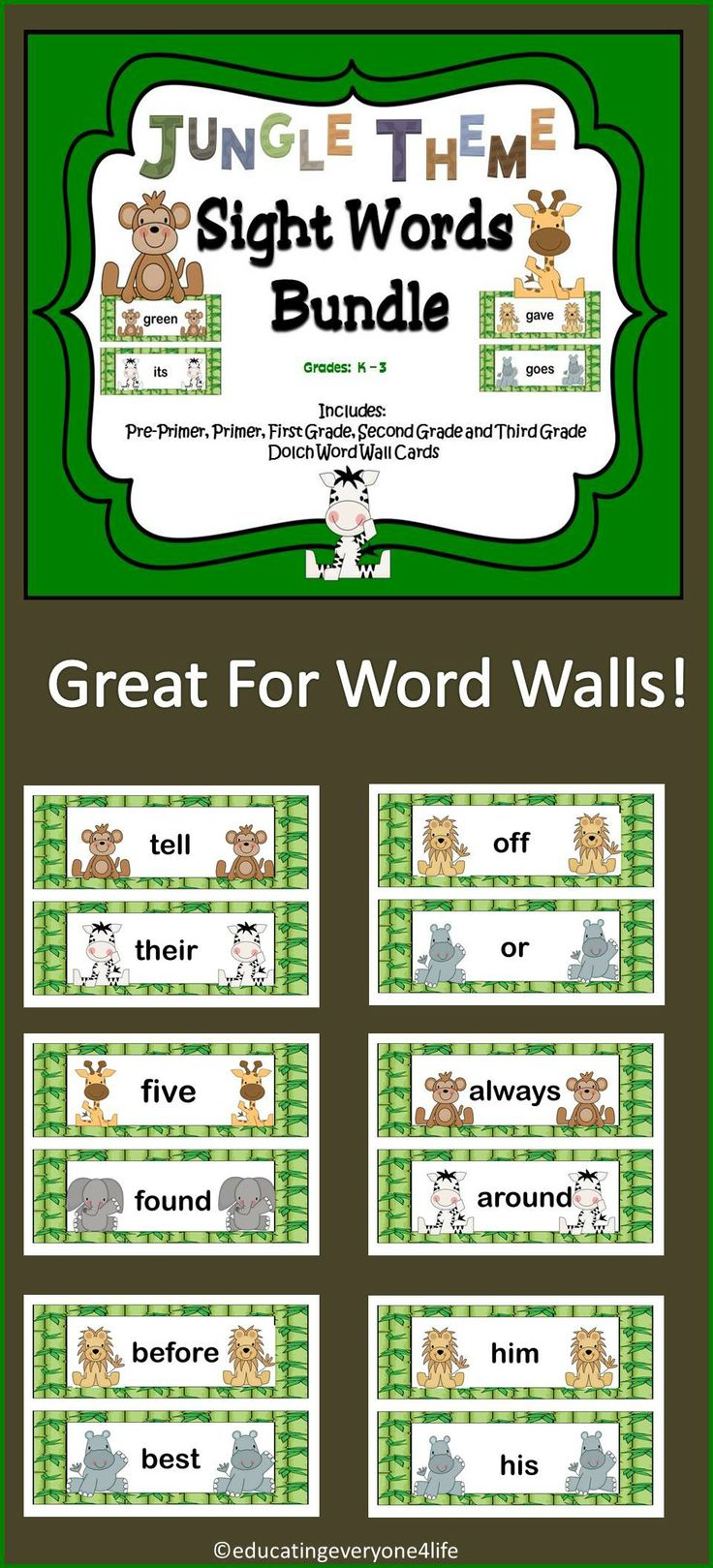 Sight Word Bundle:  Jungle Theme Word Wall Cards.     #Dolch #TpT #wordwall 3/13/14