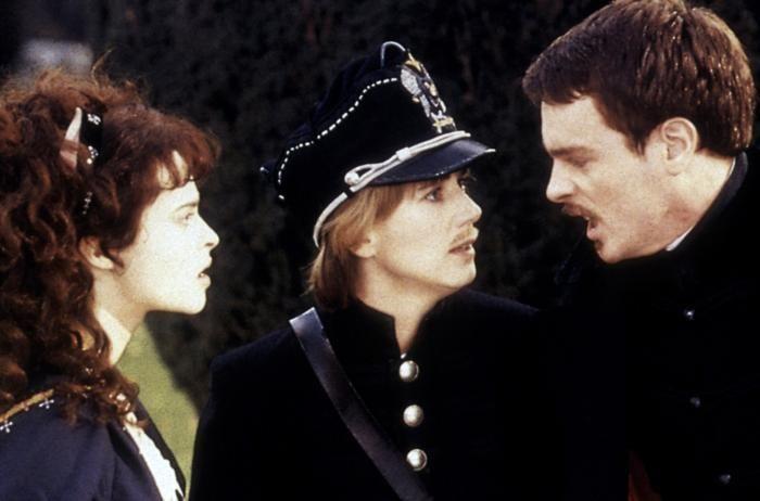 TWELFTH NIGHT, Helena Bonham Carter, Imogen Stubbs complete with moustache, Toby Stephens, 1996.
