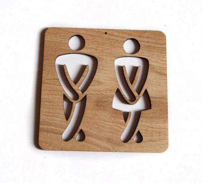 Tabliczka dębowa WC, nietypowa ozdoba w e-form na DaWanda.com