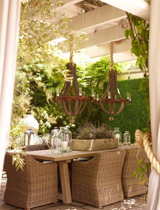 Desire to Decorate: Barn Board Tables  Like the curtains and barrel stave light fixtures too!