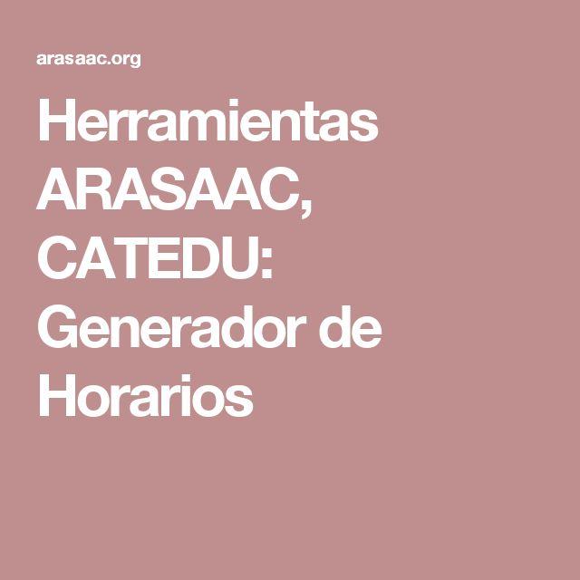 Herramientas ARASAAC, CATEDU: Generador de Horarios