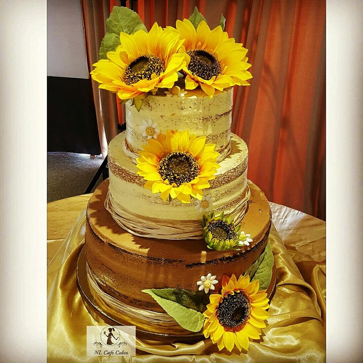 Sunflower Wedding Cake Ideas: Sunflower Rustic Semi Naked Wedding Cake