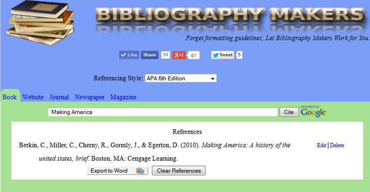 Bibliographymakers.com. With our free APA citation generator, you do not have to recall numerous formatting guidelines. Just search for your source and add it to a bibliography that this citation machine will create for you after you confirm the source's details. You can manage the bibliography by editing or deleting references, and you can also download it in Microsoft Word format. Building bibliographies has never been easier!