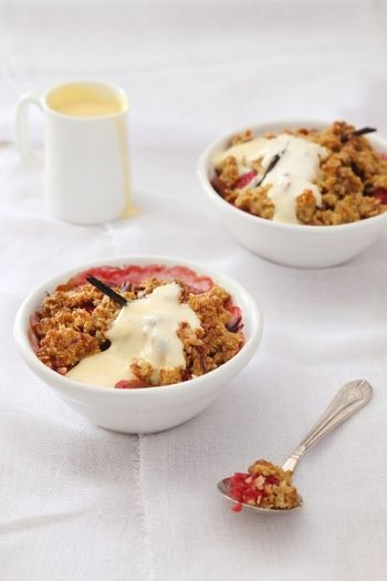 Raspberry and Vanilla Apple Crumble with Crème Anglaise