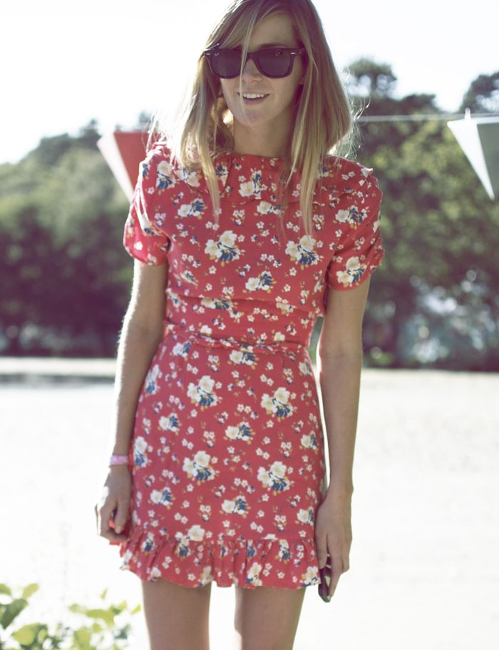 #dress #floral I like the structural poofed sleeves and the cinched waist.  Printed Dress with a small floral pattern.