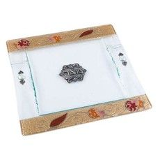 Matzah Plate with Pomegranates in Glass & Acrylic