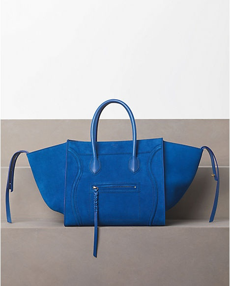 CELINE, Luggage Phantom in Suede Bright Blue