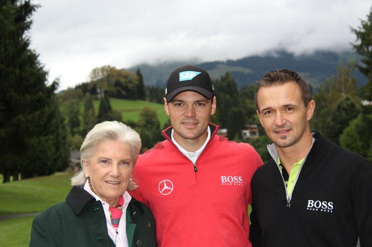#MartinKaymer mit Präsidentin Kitzbühel Tourismus Signe Reisch und Manager #GolfclubKitzbühelSchwarzsee Walter Dabernig