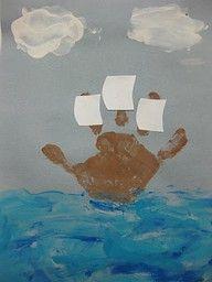 thanksgiving: Columbus Day, Hands Prints, Thanksgiving Crafts, Idea, Boats, Kids Crafts, Ships, Preschool Crafts, Mayflower Crafts