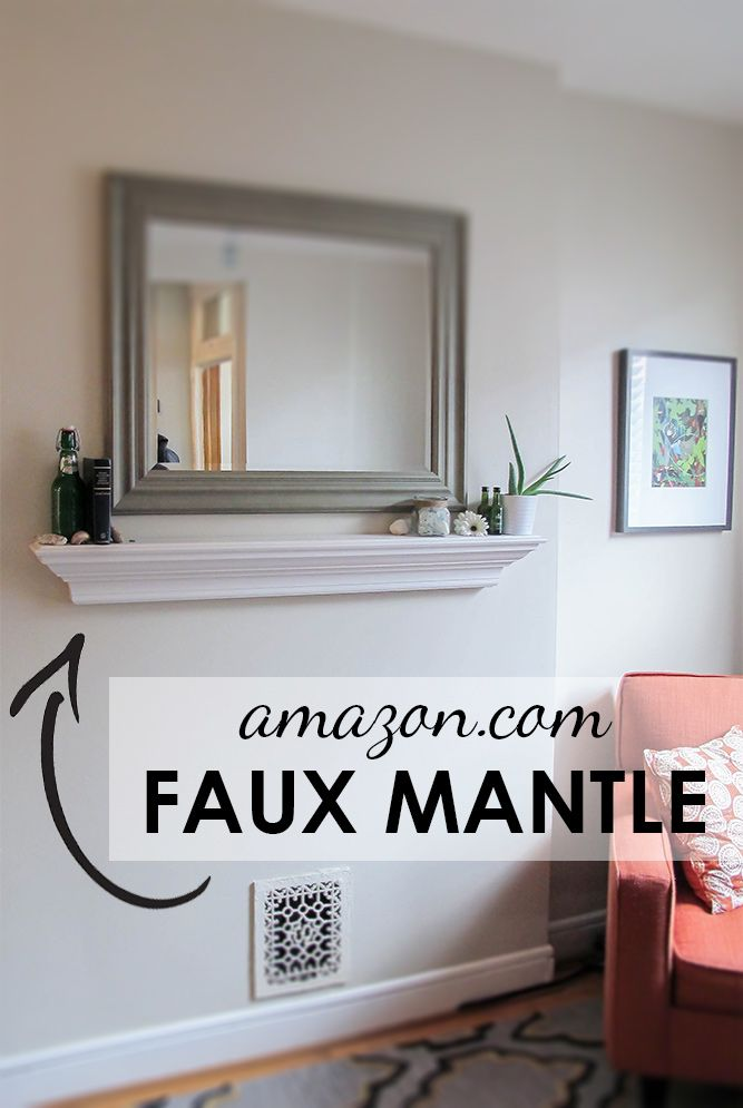 Skip the DIY for this one - crown molding faux mantle shelf from amazon!
