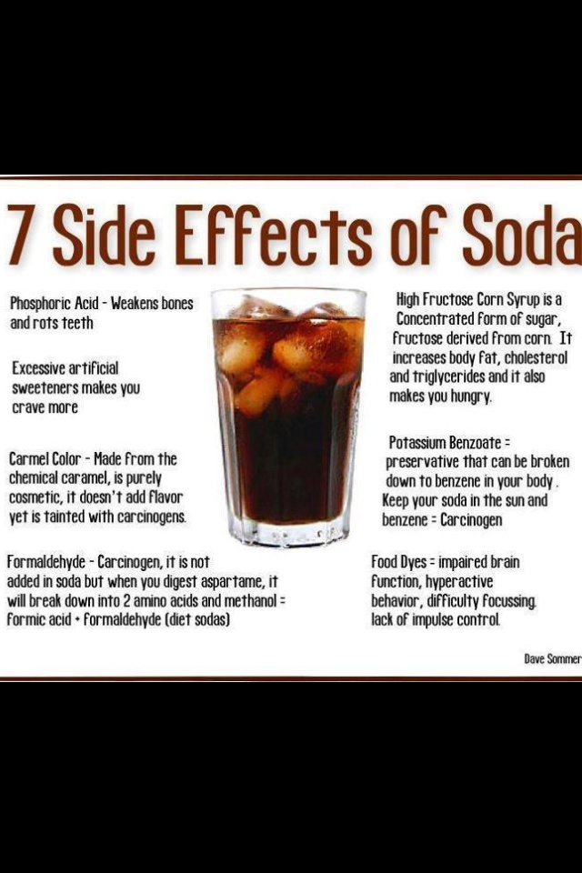 negative effects of soda A soft drink is a drink that typically contains carbonated water a sweetener, and a  natural or artificial flavoring the sweetener may be sugar, high-fructose corn  syrup, fruit juice, sugar substitutes (in the case of diet drinks), or some  combination of these soft drinks may also contain caffeine, colorings,  preservatives, and other  other substances have negative health effects, but  are present in such small.