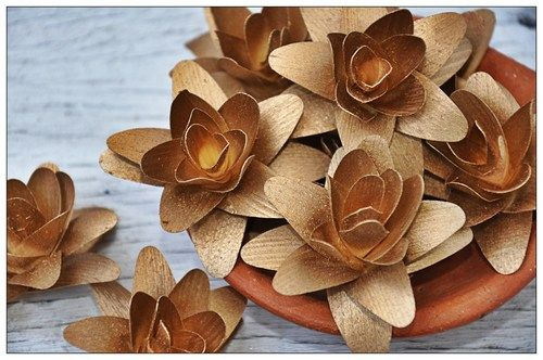 Copper Layered Lily Flowers made of Birch Shavings