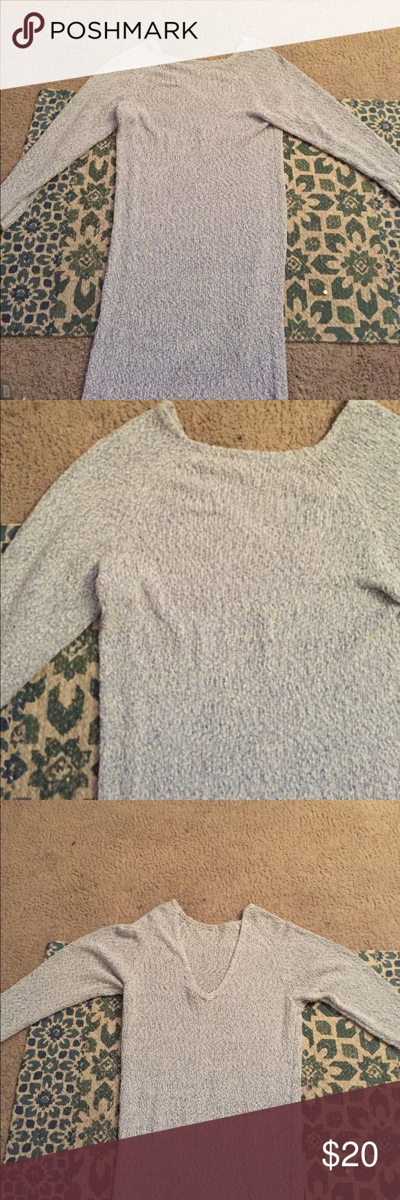 H&M Long sleeve sweater dress So soft and cozy! Long sleeve knit sweater dress with a v cut out back! Length is about to the shins! Super cute for just relaxing or going out! Beautiful light blue and white knit. H&M Dresses Long Sleeve