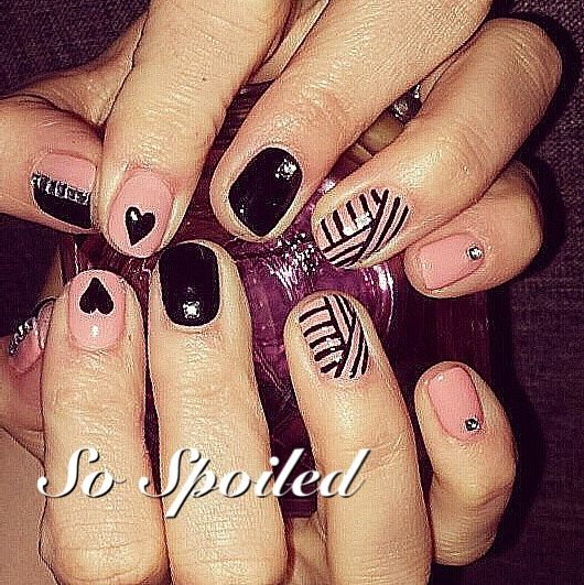 Bio Sculpture Gel Nail Art & Design - client brought in a pic so we did it! Pink, Black, Rhinestones & stripes 2014 Nails