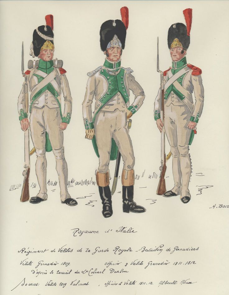 Italy; Velites of the Royal Guard. Grenadier Batalion. L to R Velite Grenadier 1809, Velte Grenadier Officer 1811-12 & Velite Grenadier 1811-12